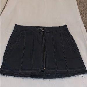 High waisted zip front denim mini skirt